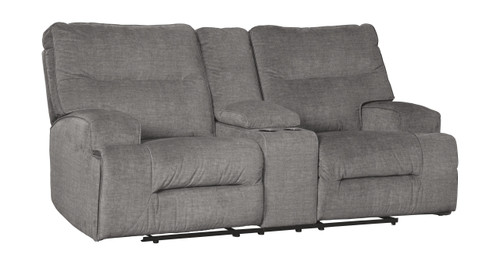 Coombs Charcoal Double Rec Loveseat w/Console