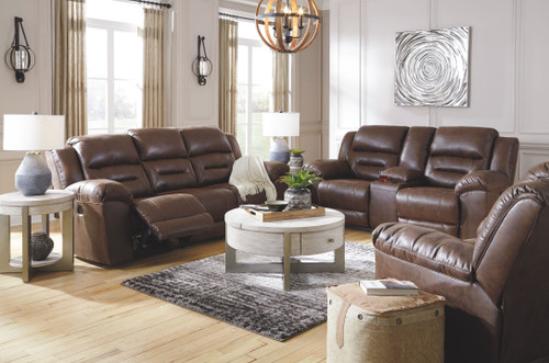 Stoneland Chocolate Reclining Sofa, Double Reclining Loveseat with Console, Rocker Recliner, Urlander Lift Top Cocktail Table & 2 End Tables