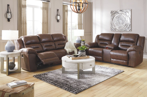 Stoneland Chocolate Reclining Sofa, Double Reclining Loveseat with Console, Urlander Lift Top Cocktail Table & 2 End Tables