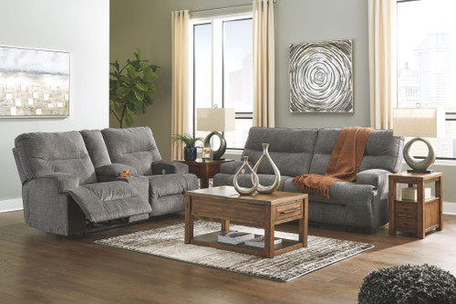 Coombs Charcoal 2 Seat Reclining Power Sofa & Double Reclining Power Loveseat with Console