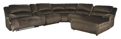 Clonmel Chocolate LAF Zero Wall Recliner, Console with Storage, Armless Recliner, Wedge, Armless Chair & RAF Press Back Chaise Sectional