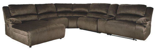 Clonmel Chocolate LAF Press Back Power Chaise, Armless Chair, Wedge, Armless Recliner, Console with Storage & RAF Zero Wall Power Recliner Sectional
