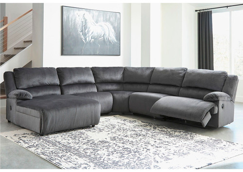 Clonmel Charcoal LAF Press Back Chaise, Armless Chair, Wedge, Armless Recliner & RAF Zero Wall Recliner Sectional
