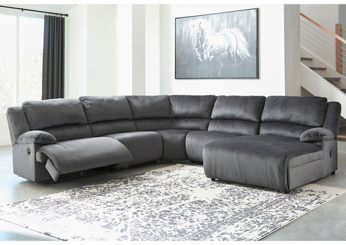 Clonmel Charcoal LAF Zero Wall Recliner, Armless Recliner, Wedge, Armless Chair & RAF Press Back Chaise Sectional