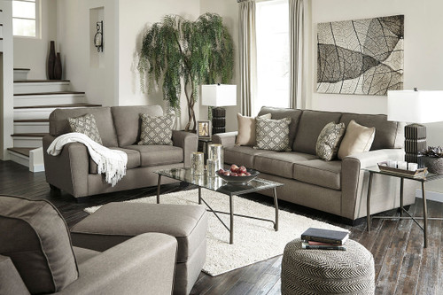 Calicho Cashmere Sofa, Loveseat, Chair, Ottoman & Burmesque Table Set