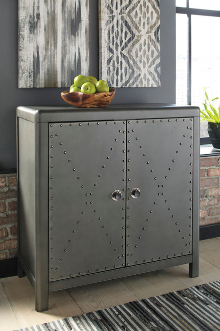 Rock Ridge Aged Steel Accent Cabinet