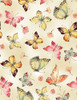 Cotton Print Yarmulkes Allover Butterflies - CREAM