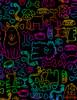 Cotton Print Yarmulkes Rainbow Dog Outline - BRIGHT