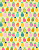 Cotton Print Yarmulkes All Over Pineapple - YELLOW