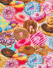 Cotton Print Yarmulkes Frosted Donuts - BRIGHT