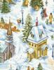Cotton Print Yarmulkes Allover Snowy Village - SNOW
