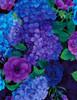Cotton Print Yarmulkes Hydrangea Bunches - PLUM