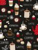 Cotton Print Yarmulkes Coffee Break - BLACK