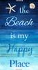 "Cotton Print Yarmulkes 24"" Beach Is My Happy Place Panel - TURQ"