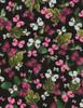 Cotton Print Yarmulkes Butterflies on Leaves - BLACK