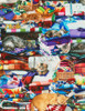 Cotton Print Yarmulkes Cats on Quilts - MULTI