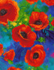 Cotton Print Yarmulkes All Over Poppies - ROYAL