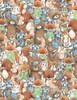 Cotton Print Yarmulkes Forest Friends - MULTI