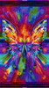 "Cotton Print Yarmulkes Abstract Butterfly Panel (24"") - BRIGHT"