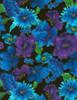 Cotton Print Yarmulkes Allover Flowers - BLACK