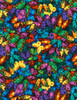 Cotton Print Yarmulkes Packed Butterflies - BRIGHT