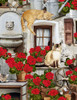 Cotton Print Yarmulkes Cats And Geraniums - PORCH