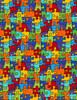 Cotton Print Yarmulkes Puzzle Pieces - BRIGHT