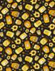 Cotton Print Yarmulkes Jars of Honey - BLACK
