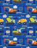 Cotton Print Yarmulkes Cement Trucks - COBALT