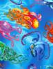 Cotton Print Yarmulkes Octopus - OCEAN
