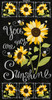 "Cotton Print Yarmulkes 24"" Sunflower Chalkboard Panel - BLACK"