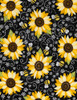 Cotton Print Yarmulkes Sunflowers and Bees - BLACK