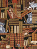 Cotton Print Yarmulkes Cats In The Library - MULTI