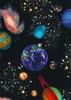 Cotton Print Yarmulkes Solar System - BLACK
