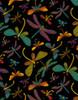 Cotton Print Yarmulkes Dragonflies - BLACK