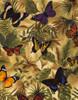 Cotton Print Yarmulkes Butterflies on Leaves - NEUTRAL
