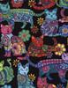 Cotton Print Yarmulkes Cat Coloring - MULTI