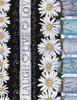 Cotton Print Yarmulkes Daisy Stripe - BLACK