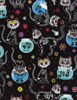 Cotton Print Yarmulkes Day of the Dead Kitty - BLACK
