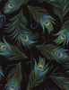 Cotton Print Yarmulkes Tossed Peacock Feathers - BLACK