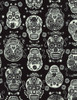 Cotton Print Yarmulkes Glow in the Dark Folklore Skulls - BLACK
