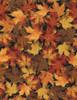Cotton Print Yarmulkes Metallic Harvest Leaves - BLACK