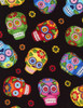 Cotton Print Yarmulkes Sugar Skulls - BLACK