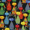 Cotton Print Yarmulkes Cats - Black
