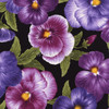 Cotton Print Yarmulkes - Flowers Black