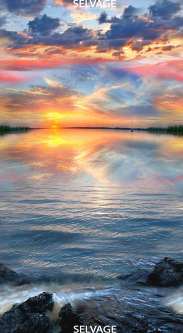 "Cotton Print Yarmulkes 24"" Sunset on Water Panel - MULTI"
