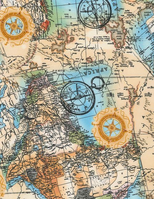 Cotton Print Yarmulkes World Map - MULTI