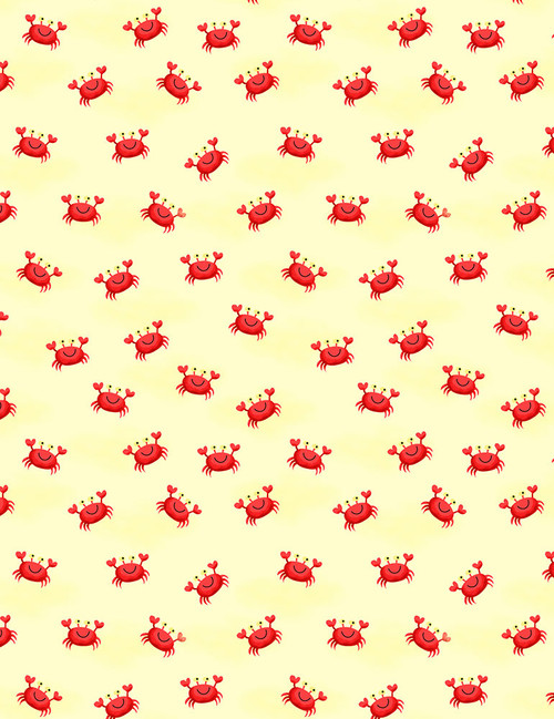 Cotton Print Yarmulkes Crabs - SAND