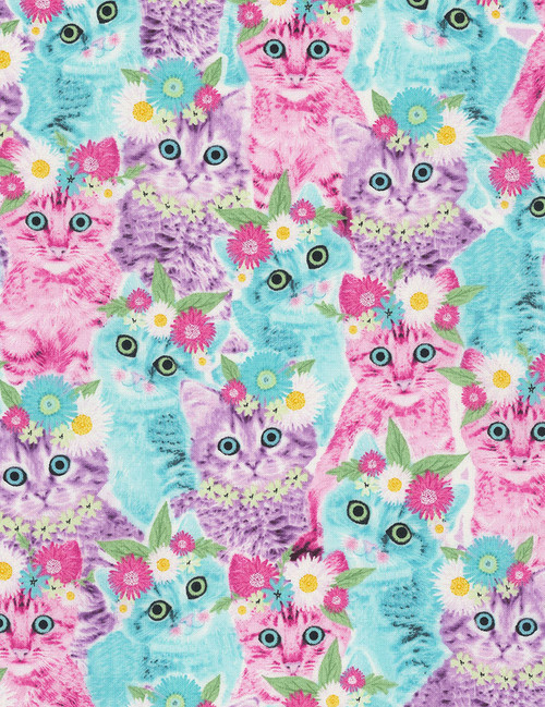Cotton Print Yarmulkes Cats in Flower Crowns - MULTI