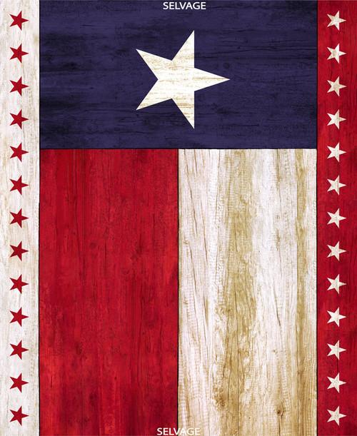 "Cotton Print Yarmulkes 36"" Texas Flag Panel - MULTI"